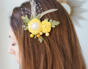 EVERLIEGH Country Wedding Handmade Flower Clip Upcycled Yellow Vintage Materials Green Leaves Ivory Veiling Pearl Rhinestones Bridal Bride