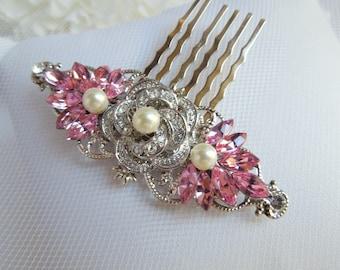 Swarovski Crystals,Pink Bridal Hair Comb,Bridal Rhinestone Hair Comb,Wedding Rhinestone Hair Comb,Rose Rhinestone Hair Comb,Bride,ROSELANI