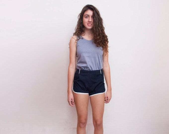 Dead stock Vintage sport Shorts navy blue White high waist Size XXS