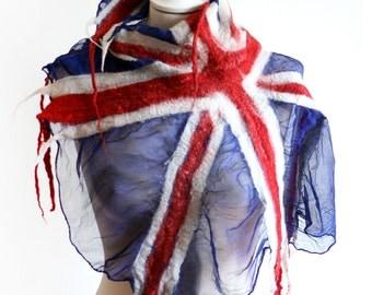 UK Flag Scarf - British Flag Nuno Felt Scarf - Wool and Silk Scarf