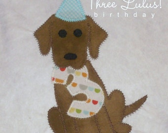 Puppy Dog Birthday Shirt Personalized Number Long Short Sleeve Appliqued Embroidered Monogrammed