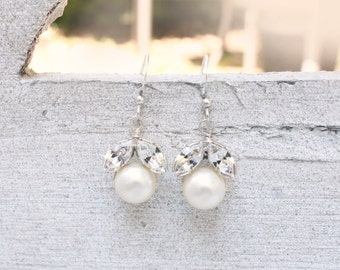 Pearl, crystal earrings, bridal accessories, vintage, Marquise cut, Swarovski - Now Ready to Ship