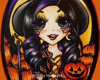 Pumpkin Witch  - Archival Art  Print 8 x 10 Inches  Cute Kids  Halloween Decoration Art Jack O Lantern Monster High Cute Kawaii Big eye