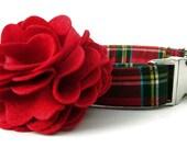 Red Tartan Plaid Dog Collar and Flower Set - Scottie Plaid - Nickel Hardware