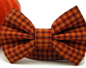 Pumpkin Plaid Bow Tie Dog Collar