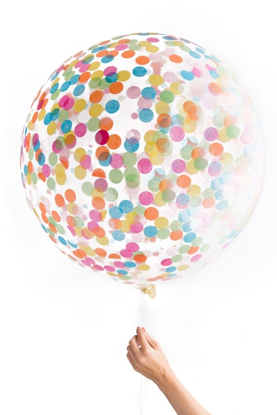 "Confetti Balloon / Jumbo Multicolor 36"" Balloon / As Seen on Today Show"