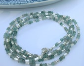 Natural Cut Emerald & Sterling Silver Wrap Bracelet or Long or Doubled Necklace