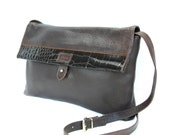 Mazzini, Italian Vintage, 1970s Brown, Leather Satchel, Messenger, Crossbody, Handbag with Crocodile Trim from Paris