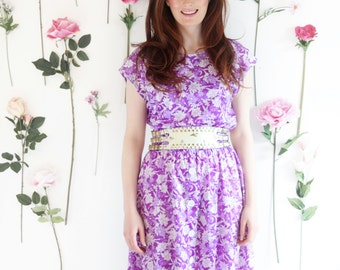 Lilac, Vintage, 1970s Purple Floral Midi dress, from Paris