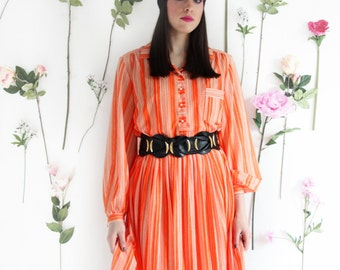 Orange Crush, Vintage, 1970s Stripe Shirt Dress, from Paris