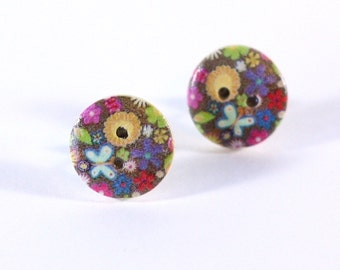 Flowers and Butterflies Repurposed Wooden Button Earrings with two little hearts on a silver tone earring post - Stud Earring