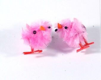 Cute Pink Peeps Baby Chick Easter Earrings - Post Stud Earrings - play jewelry - dress up earrings - holiday earrings