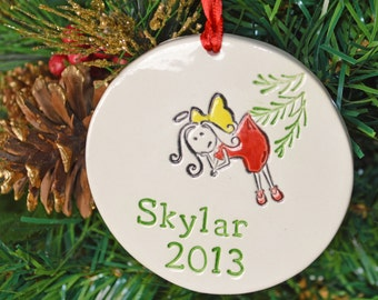 personalized ceramic ornament Angel,  custom made to order, Christmas tree ornament, ceramic