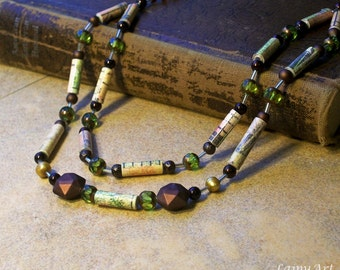 Paper Bead necklace -Eco Friendly and lightweight - earthy, green, beaded necklace - FREE SHIPPING