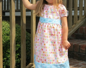 Back to School Dress, Toddler Girls Dress, Toddler Peasant Dress, Alphabet Dress, Girls Dress, Peasant Dress