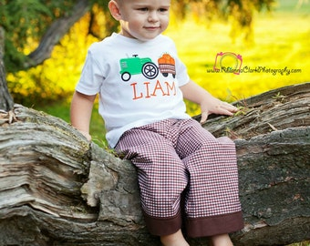 Tractor with Pumpkins Pants Outfit, Personalized Outfit, Thanksgiving Outfit, Boys Outfit