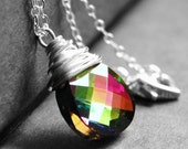 Rainbow Crystal Necklace, Swarovski Crystal Rainbow Wire Wrapped Pendant, Sterling Silver Multicolor Necklace, Faceted Teardrop