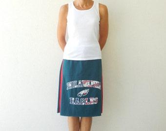 Philadelphia Eagles T Shirt Skirt Women's Tee Skirt Straight Red White Blue Teal Green Recycled Knee Length Cotton Skirt Soft ohzie