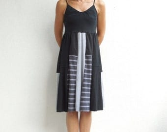 T-Shirt Dress Summer Dress Tank Top Black Gray Soft Cotton Recycled Fashion Handmade Dress Spring Summer ohzie