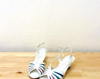 Vintage Penaljo Shoes / Leather Sandals / White Heels / Slingback Pumps / Pop of Color / Open Toe Shoes 6M
