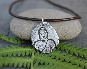 Ancient Buddha Fragment Necklace - Buddhist fine silver antiqued handmade charm - Zen - Meditation - leather cord - free shipping USA