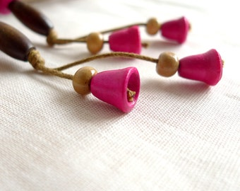 Long Dangle Earrings, Natural Jewelry, Hot Pink Wood Earrings, Eco Jewelry, Tribal Hippie Earrings, Boho Earrings