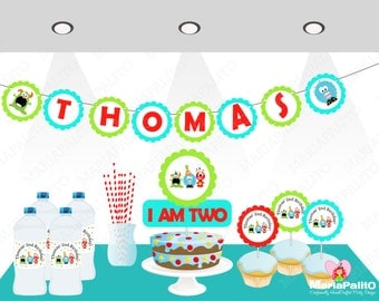 Monster Party Set , Monster Banner, centerpiece, cupcake toppers and more A1060