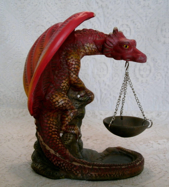 Handpainted medieval dragon oil warmer fantasy by sheekydoodle - Dragon oil warmer ...