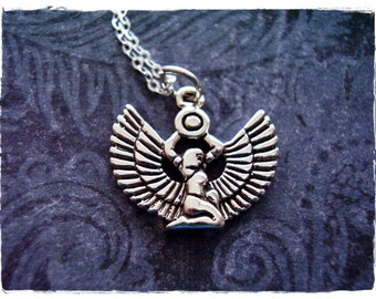 Silver Isis Goddess Necklace - Sterling Silver Isis Goddess Charm with a Delicate Sterling Silver Cable Chain or Charm Only