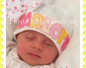 Newborn girl hat, baby beanie, girls hats, baby hat with name, baby girl hat, infant beanie, girl layette, infant clothes, baby gifts
