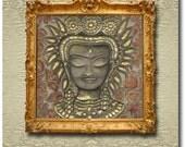 Angkor's Faces - Apsara - Original Painted Silk Carving/Silk Sculpture on Stretcher Frame