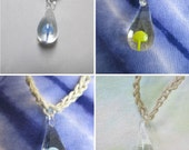 Hemp Necklace Glass Mushroom Pendant SHROOM NEW - You Choose Color -  Blue, Light Blue, Green, Yellow, or Red