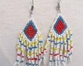 Native American Indian Design Beaded Southwest Dangle Fringe Pierced Earrings 1970s Vintage