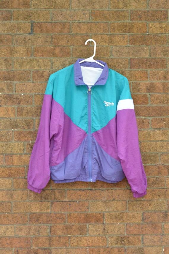 Vintage Reebok Windbreaker Jacket Teal Magenta Purple
