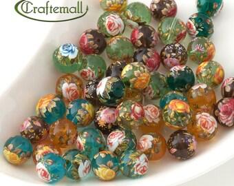 Tensha glass beads 12mm round - set of 2 beads