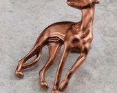 Greyhound Dog Pin - Copper Finish Whippet