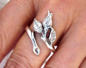 Small rose ring Unique Sterling Silver Jewelry Adjustable ring Sterling silver ring Rose bud ring small ring promise Not spoon ring R-118