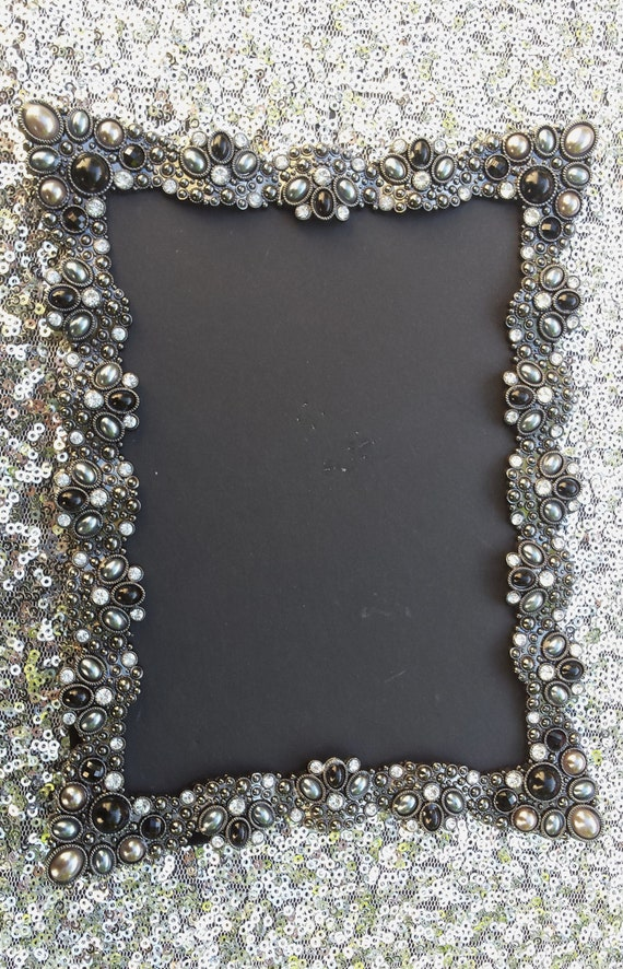 10 Vintage Style Black Jeweled Rhinestone Frame Bling Silver