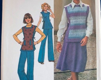 vintage 1970s womens pattern -- Simplicity 7572 Misses bias skirt, pants, and reversible tunic, size 12 bust 34