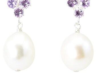 Principessa amethyst and freshwater pearl earrings in sterling silver