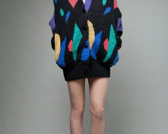 vintage 80s sweater cardigan color block fuzzy oversized ONE SIZE