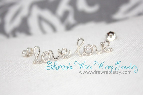 Love Earrings, Pair, Sterling Silver, Yellow Gold Filled and NOW Rose Gold Filled