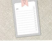 Things To Do List Notepad | Pink Flag Banner on Black Polka Dot Background Notepads - Personalized Notepad