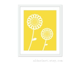 Flower Poster Art Print  Yellow Sunflowers Spring Decor Flower Wall Art