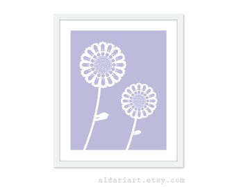 Spring Flower Poster Art Print Purple Lilac Modern Sunflowers Spring Decor Flower Wall Art