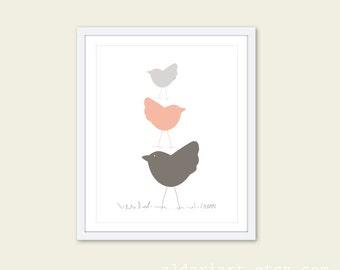 Nursery Birds Wall Art Print Three Birds in Peach Nursery Art Print - Baby Girl art gift