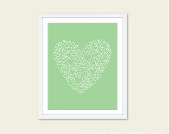 Love Heart - Mint Green Nursery Art Print - Heart Wall Art Poster - Kids Wall Art