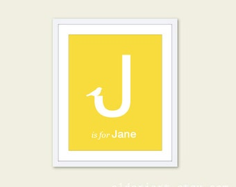 Custom Name and Letter Art Print With Bird - Nursery Wall Art - Yellow and White - Newborn Baby Initial - Letter J - Lemon Yellow - Under 20