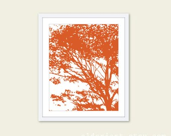 Autumn Tree Art Print - Pumpkin Orange Tree Art - Modern Tree Art - Woodland Nature Home Decor - Modern Tree Wall Art - Fall Decor