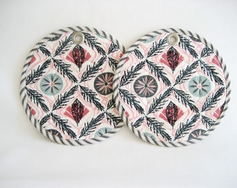 Barkcloth Potholders Grey Pink Quilted Pair